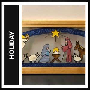 Stained Glass Nativity Scene Wallhanging
